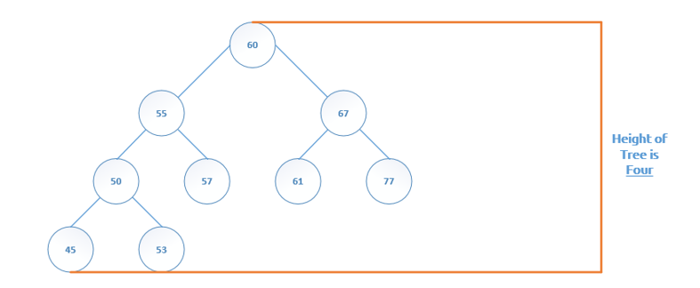 Binary Tree Glossary height is four